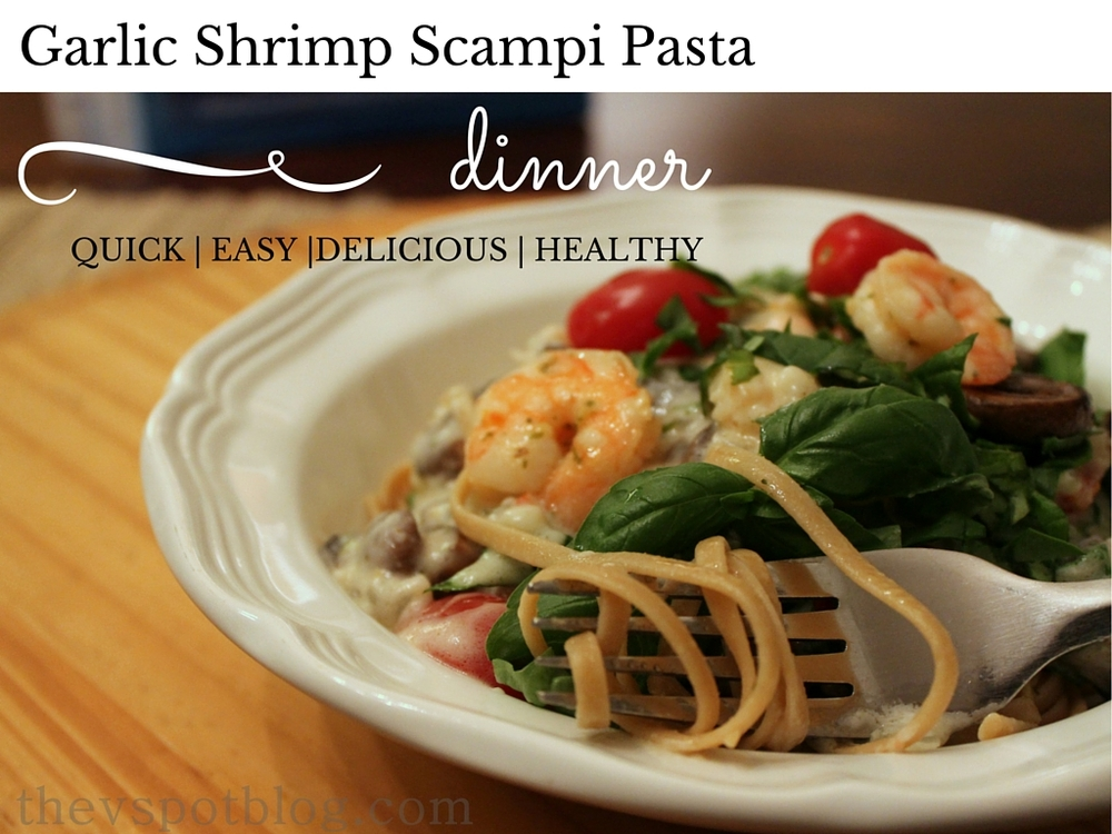 Quick and easy Garlic Shrimp Scampi with whole wheat pasta and fresh veggies.