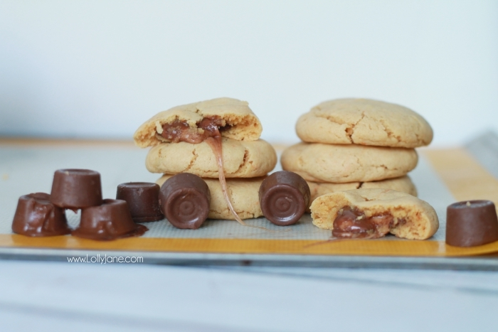 These peanut butter Rolo cookies are so good! Easy to make too! Just 5 ingredients for this easy cake mix peanut butter Rolo cookie dessert, yum!