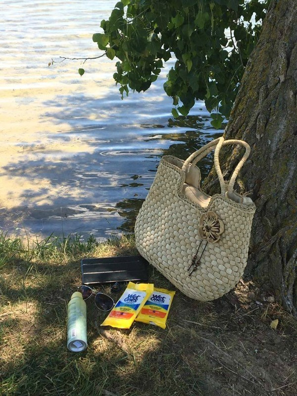 a package of Wet Ones next to a woman\'s purse by the lake.