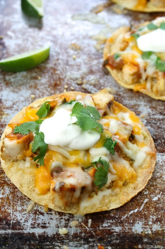 Cheesy Chicken Tostadas with Cilantro Lime Couscous from missinthekitchen.com