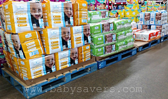Generic diapers at Sam's Club for a new mom survival kit
