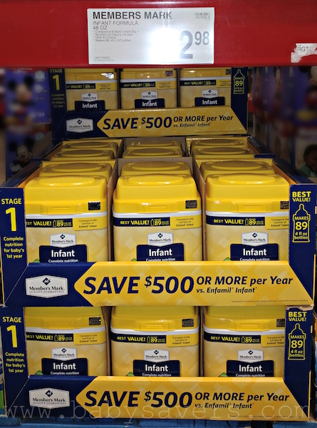 How much is generic infant formula at Sam's Club for a New Mom's survival kit list