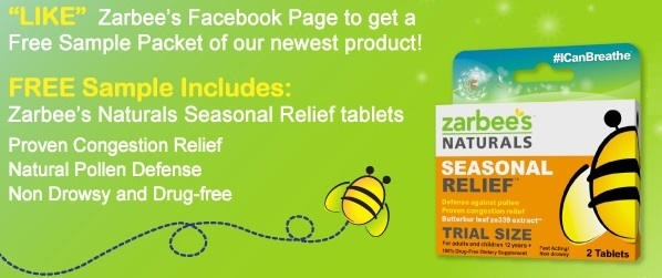 FREE ZarBee's Naturals Seasonal Relief Sample