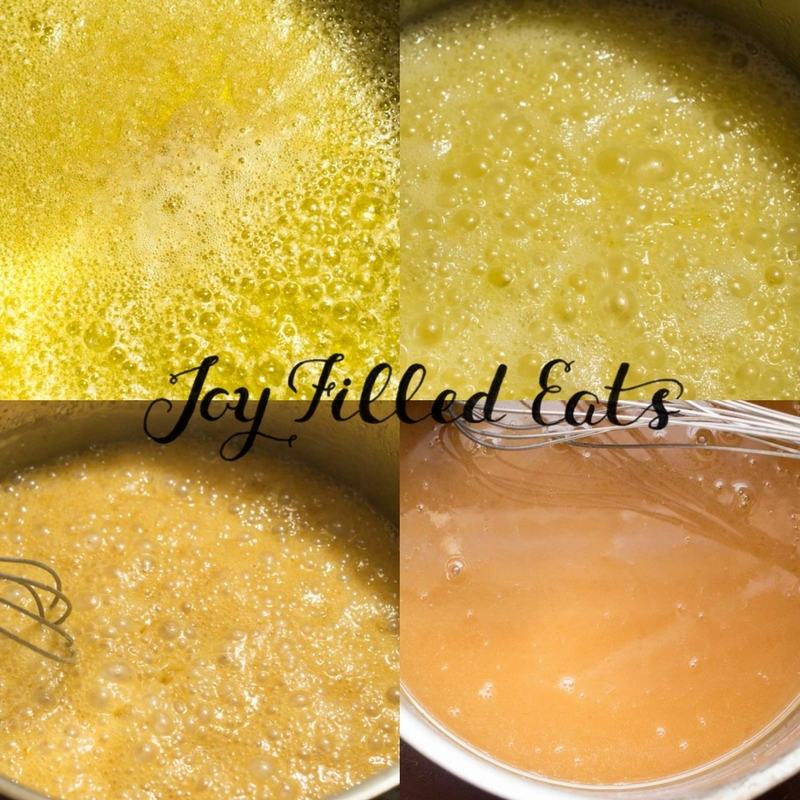 how to make caramel shown in 4 pictures