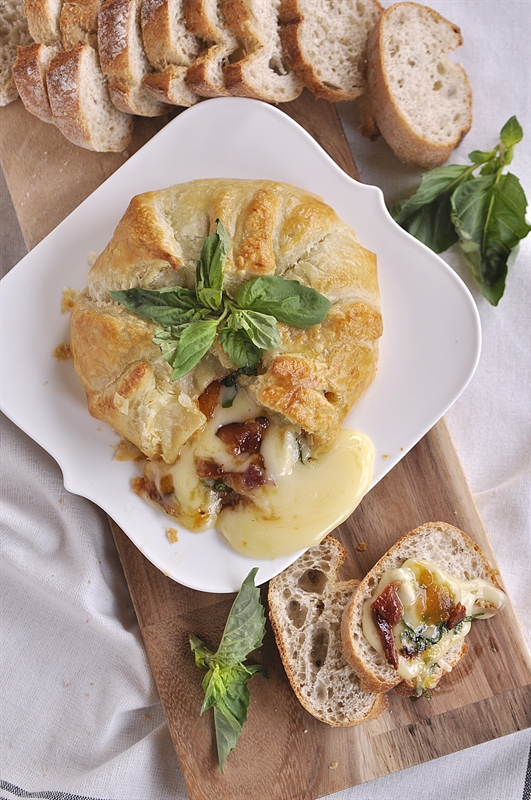 Basil, Bacon & Peach Baked Brie {Your Homebased Mom}