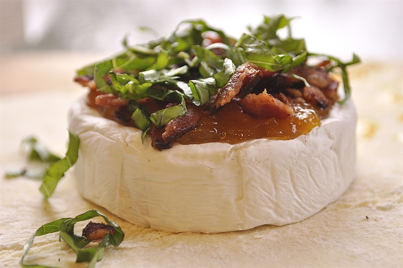 brie with basil on top