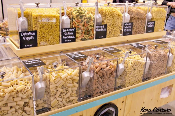bulk food buying pasta at whole foods market