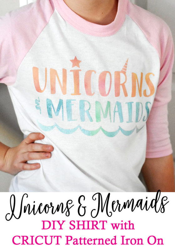 Unicorns and Mermaids Shirt by Pineapple Paper Co. using Cricut Patterned Iron On