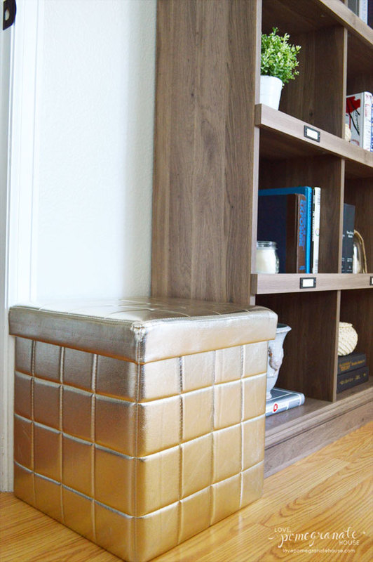Now a word about this gold storage ottoman. I mean… I HAD to get it. I  really had no option. Partially because hubby needs somewhere to sit to  slip on his ... - Budget-Friendly Furniture Finds - Love, Pomegranate House