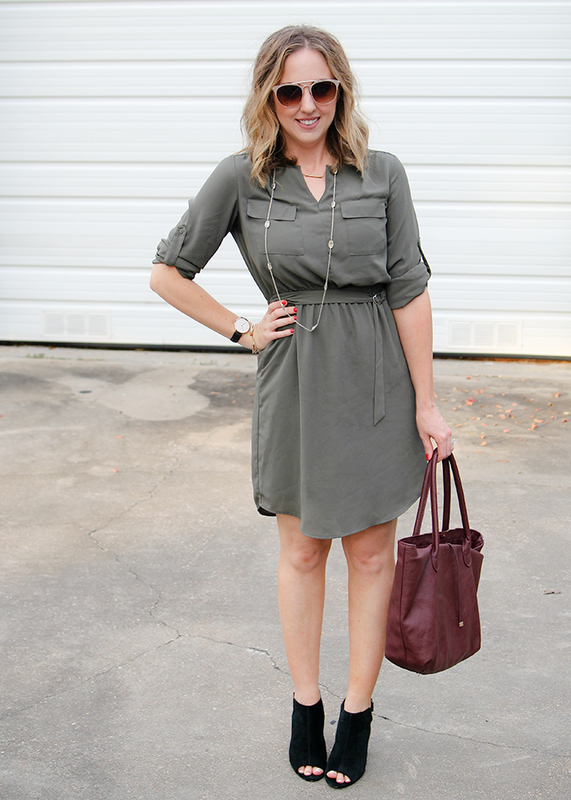 Cute transitional fall outfit - olive dress, black suede peep toe booties, and burgundy bag