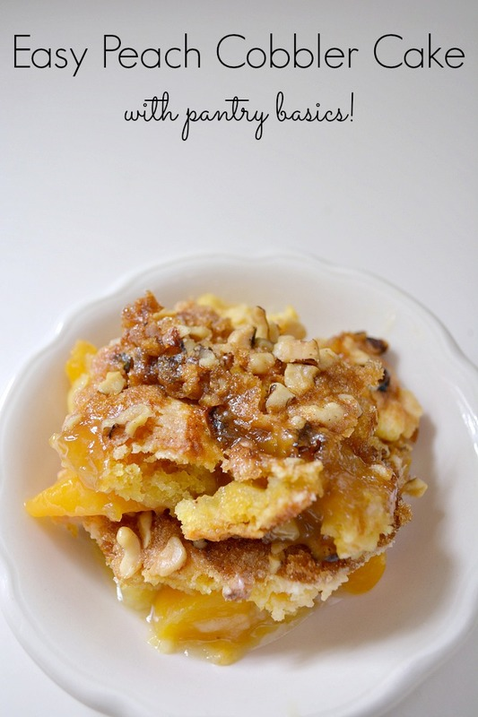 Need a quick dessert recipe?  Try this Easy Peach Cobbler Cake with this easy cake mix recipe! It's sure to be a crowd pleaser!