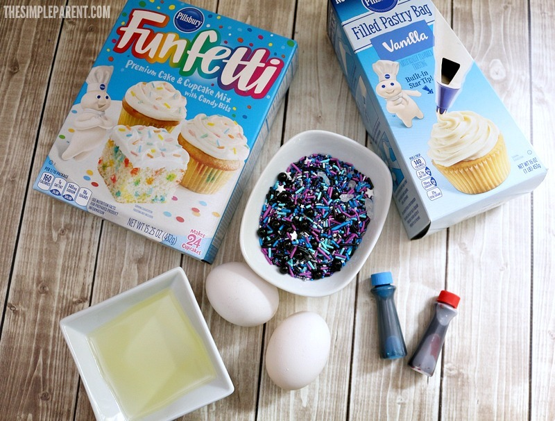 Check out the ingredients you need to make space theme cookies!