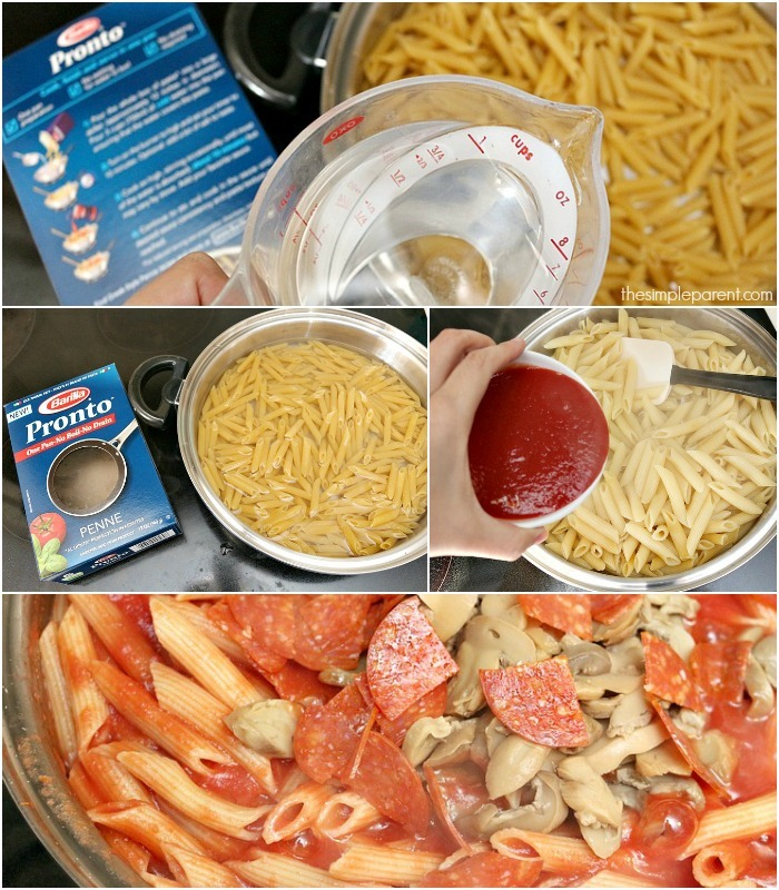 Make family dinner faster and easier with this one pan pasta dinner recipe! This cheesy pizza pasta recipe is perfect for the entire family! And have it ready in less than half an hour!