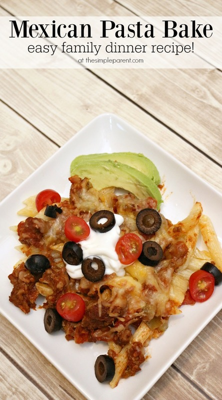 This easy Mexican Pasta Bake recipe is a great family dinner idea! Easy and family friendly!