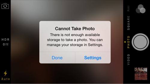 cannot take photo