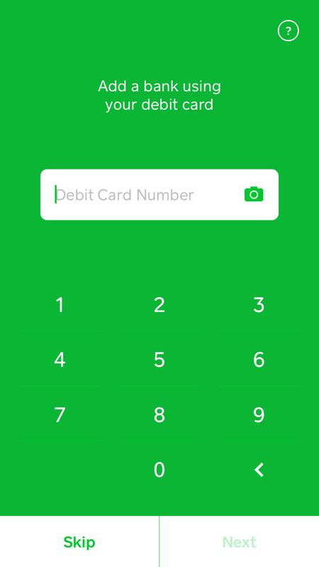 Entering my debit card info