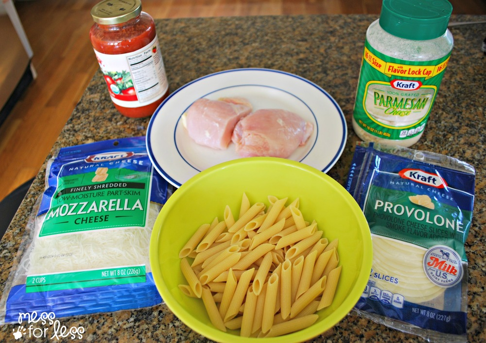 Ingredients for chicken and pasta bake