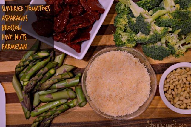 Ingredients of Shrimp & Veggie Pasta Skillet