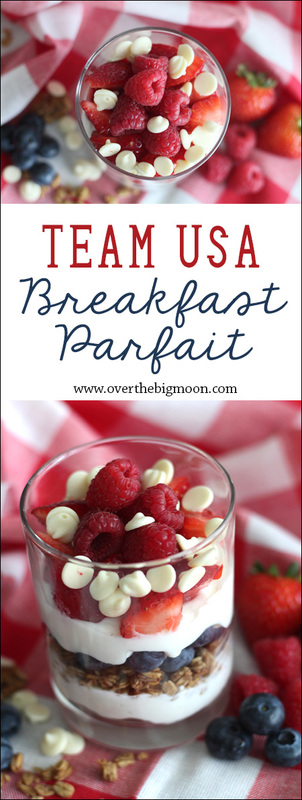 Team USA Breakfast Parfait - It's the perfect breakfast to help cheer on team USA as they #GoForGold | www.overthebigmoon.com