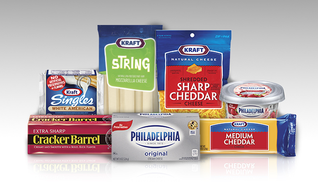 A variety of cheese products.