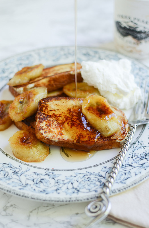 Pound Cake French Toast with Caramelized Bananas - the most decadent French toast! And you won't believe how easy it is!