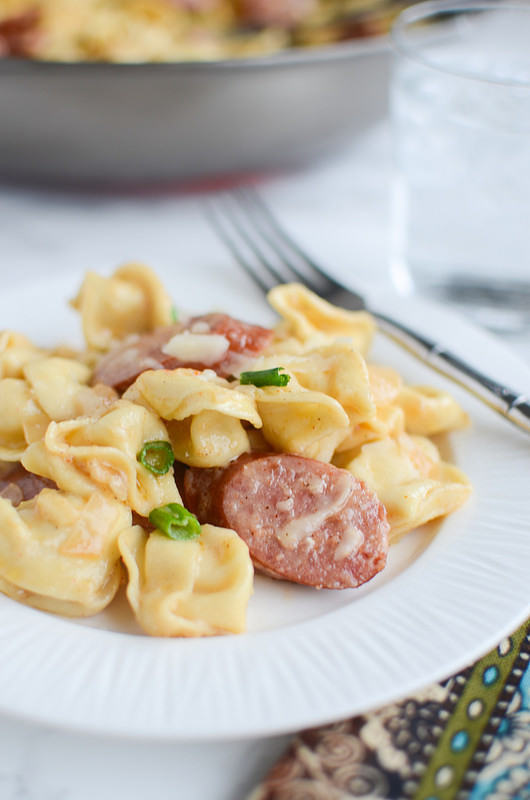 Cajun Tortellini Alfredo - delicious 20 minute dinner recipe! Tortellini and smoked sausage in a delicious cajun alfredo sauce!
