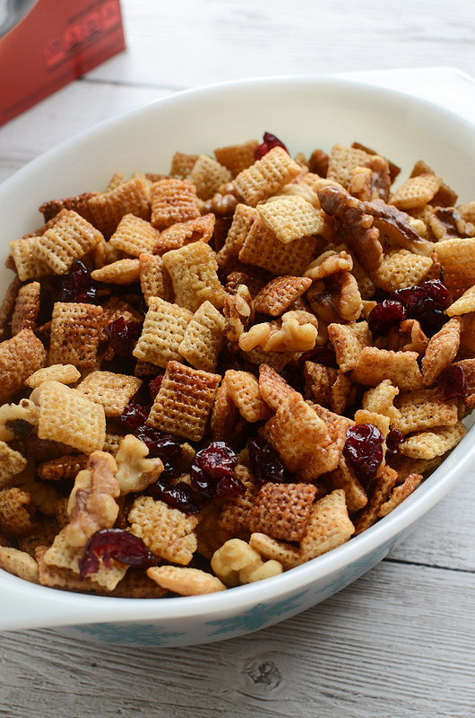 Cranberry Nut Chex Mix - a holiday twist on the classic! This easy recipe is made in the microwave and you won't believe how delicious it is!