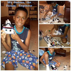 My Godson, Quez, and one of his many buildings from Leggos. Time to get him into the STEM focused projects!
