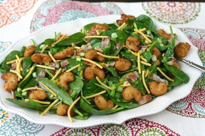 Spinach Salad with Popcorn Shrimp