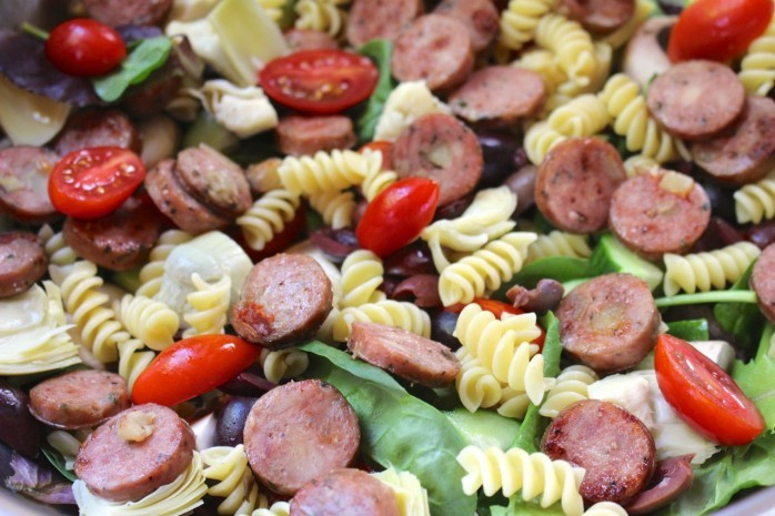 Greek Salad with Sausage Recipe: A tasty summer meal idea that's simple and simply delicious! Pair to with Cupcake® Pinot Grigio for a wonderful meal.
