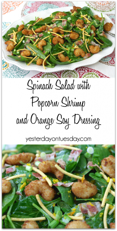 Delicious recipe for Spinach Salad with Shrimp and Warm Orange Soy Dressing