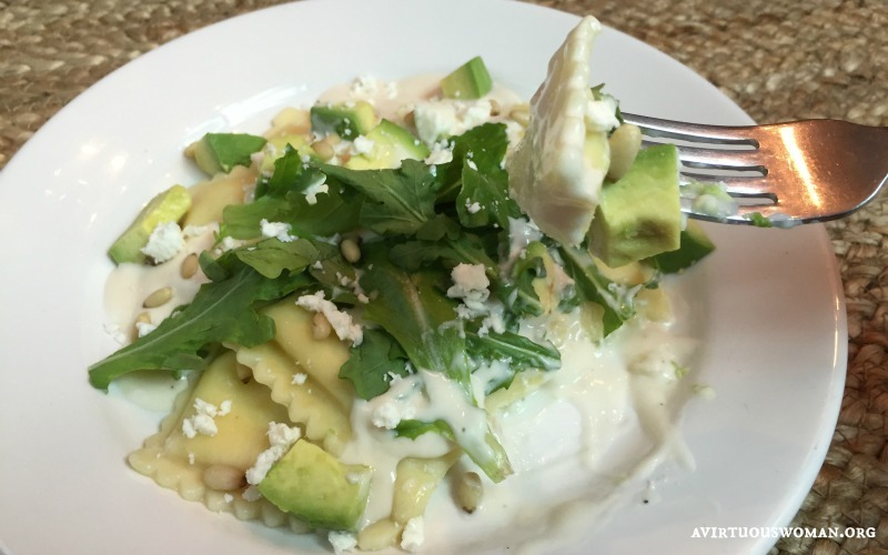 Cheese Ravioli with Arugula, Feta, Pine Nuts, and Avocado @ AvirtuousWoman.org