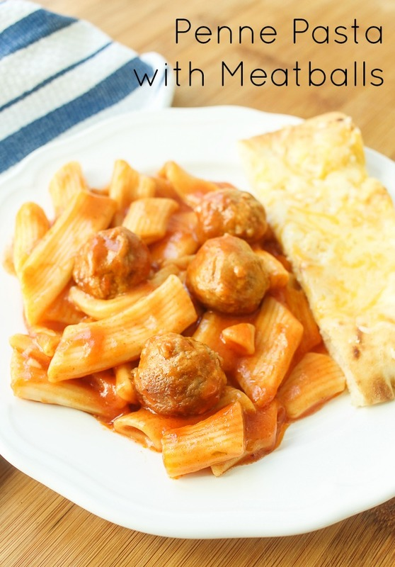 penne pasta and meatballs dinner recipe with garlic bread