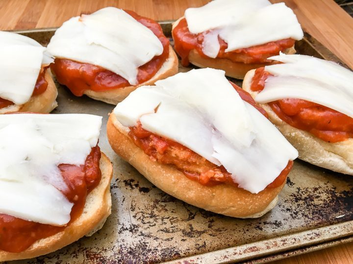 Open Faced Chicken Parmesan Sandwiches with Oncor