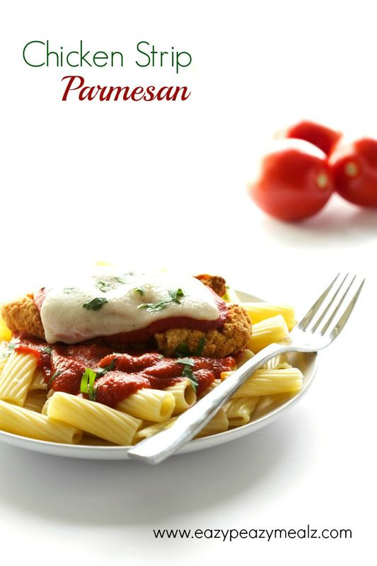 Chicken Strip Parm: Make your favorite Chicken parm the quick and easy way with premade Tyson Chicken strips. Perfect for back to school dinners. - Eazy Peazy Mealz