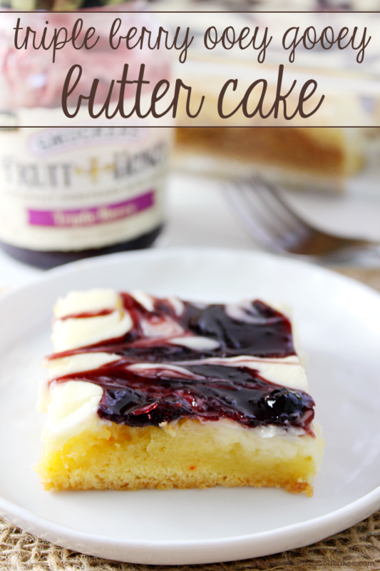 This Triple Berry Ooey Gooey Butter Cake is the perfect dessert anytime! Although it looks like you fussed, it's easy to make! #FruitAndHoney #ad