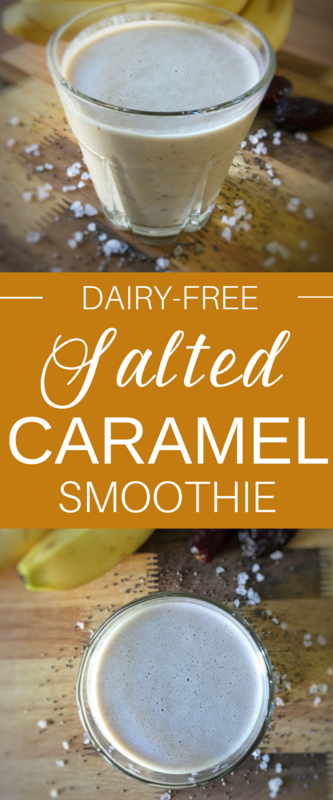 Salted Caramel Smoothie Recipe - Dairy Free. This salted caramel smoothie recipe made with So Delicious Dairy Free Organic Almondmilk tastes just like salted caramel! It's been on repeat at our house, it's just that good. Click through for the recipe!