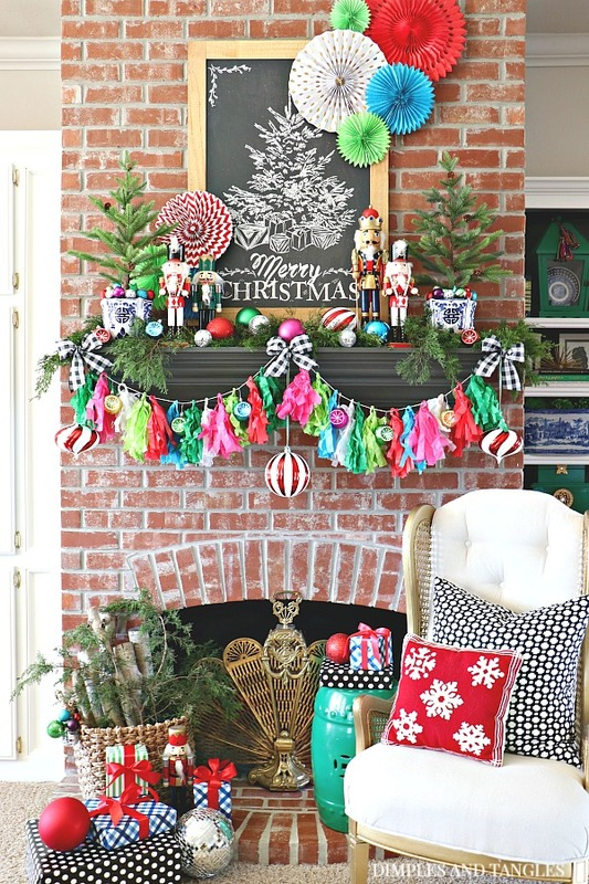 jewel tones, christmas mantel, christmas vignette, brick fireplace, vintage cane wingback chair, betwixt pillow