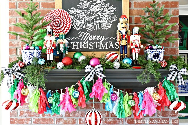 Tissue tassel garland, christmas mantel, nutcrackers