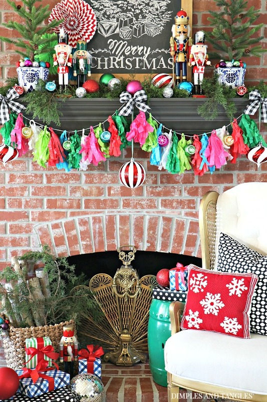 tissue paper garland, christmas mantel decorations