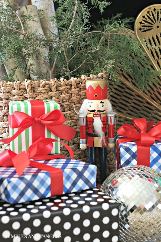 gingham wrapping paper, nutcracker, polka dot wrapping paper, Christmas decorations