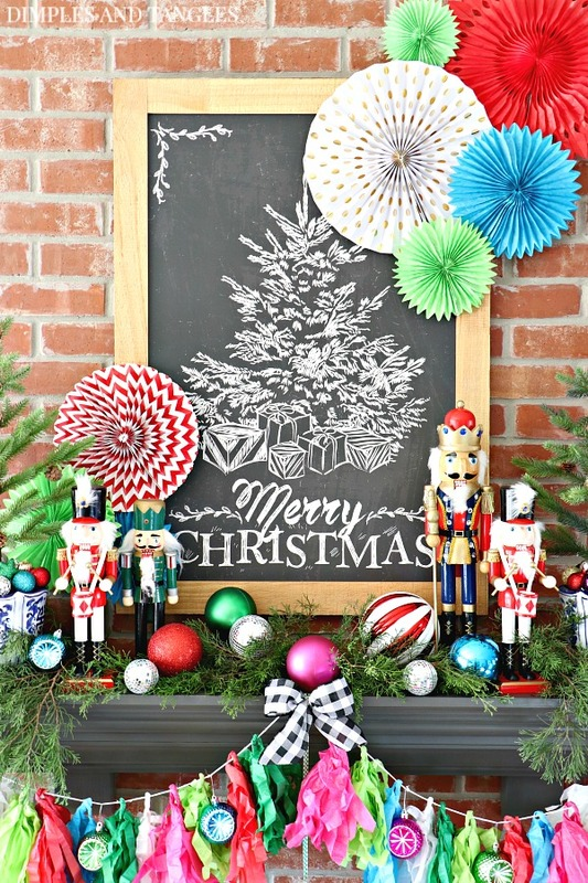 christmas decorations christmas mantel merry christmas chalkboard hobby lobby nutcrackers - Colorful Christmas Decorations