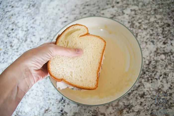 Copycat Monte Cristo Sandwich - dip it in batter