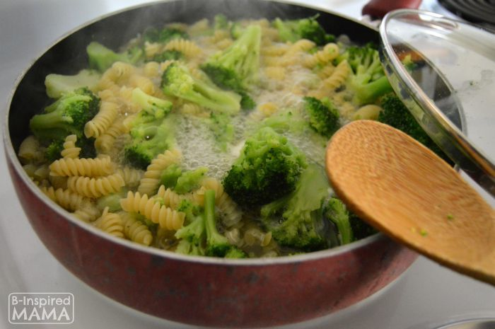 3-Ingredient One-Pot Broccoli Cheese Pasta Recipe - with Barilla Pronto - at B-Inspired Mama