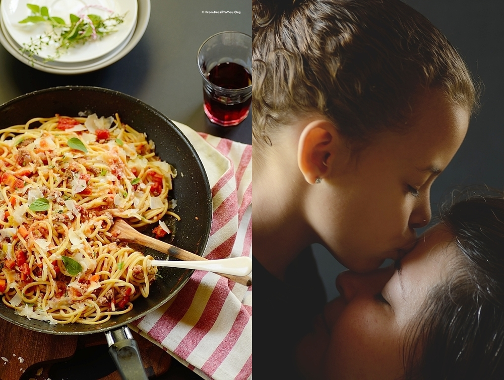 photo collage of pasta and also a child kissing her mother