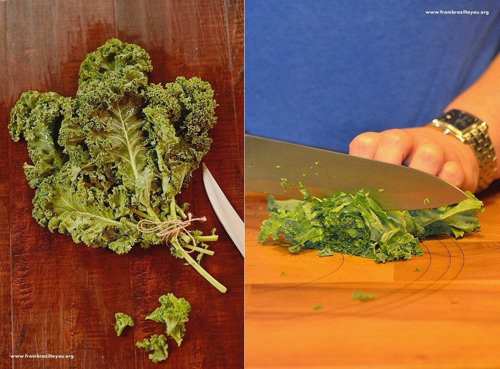 a photo collage of kale being chopped