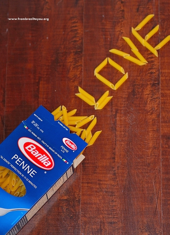a box of dry pasta with the name LOVE spelled out of pasta