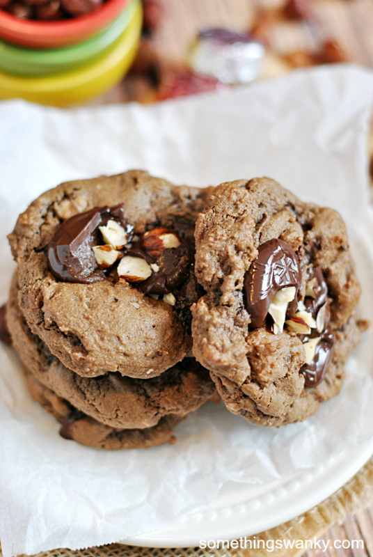 Dove Dark Chocolate & Hazelnut Cookies | www.somethingswanky.com