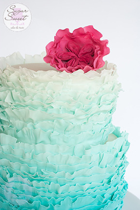 Ruffles Frill Aquamarine Ombre Cake with Gumpaste Cabbage Rose by Sugar Sweet Cakes and Treats