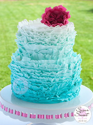 Fondant Frills Ruffle Ombre Cake by Sugar Sweet Cakes and Treats